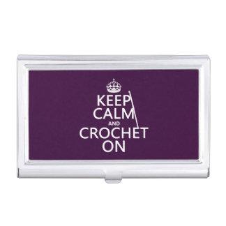 Guarde la calma y Crochet encendido Caja De Tarjetas De Negocios