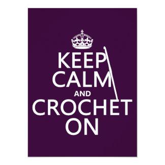 """Guarde la calma y Crochet encendido Invitación 5.5"""" X 7.5"""""""