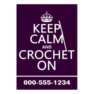 Guarde la calma y Crochet encendido Tarjetas De Visita Grandes