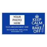 Guarde la calma y cueza de (cocinando) (los colore tarjeta con foto personalizada