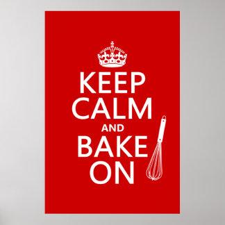 Guarde la calma y cueza en (cocinando) (el color póster