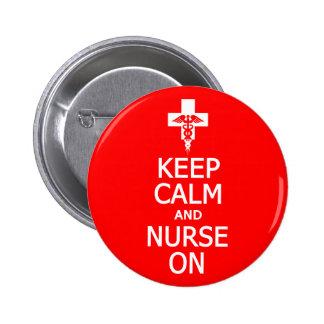 Guarde la calma y cuide en el botón pins