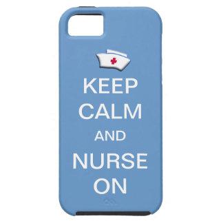 Guarde la calma y cuide en el cielo de /Blue iPhone 5 Case-Mate Carcasa