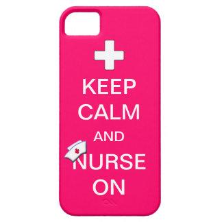 Guarde la calma y cuide en la cruz de /White y cui iPhone 5 Carcasas