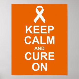 Guarde la calma y cúrela en el poster del cáncer