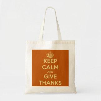 Guarde la calma y dé la calabaza de la cosecha de  bolsa tela barata