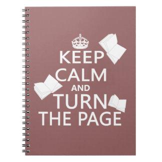Guarde la calma y dé vuelta a la página cuaderno