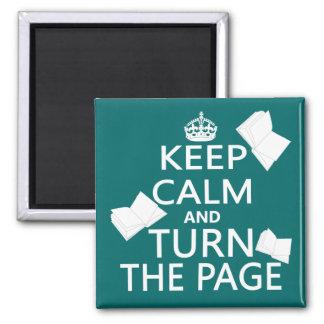 Guarde la calma y dé vuelta a la página imán cuadrado