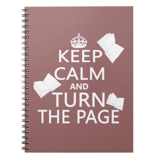 Guarde la calma y dé vuelta a la página libreta espiral