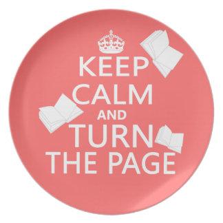 Guarde la calma y dé vuelta a la página plato para fiesta