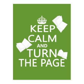 Guarde la calma y dé vuelta a la página postales