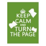 Guarde la calma y dé vuelta a la página tarjeta postal