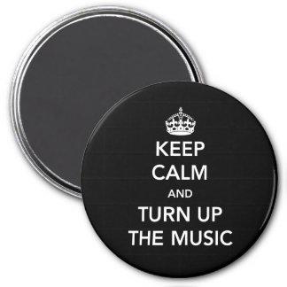 Guarde la calma y dé vuelta encima de la música imán redondo 7 cm
