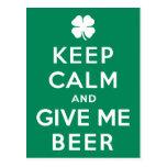 Guarde la calma y déme la cerveza postales
