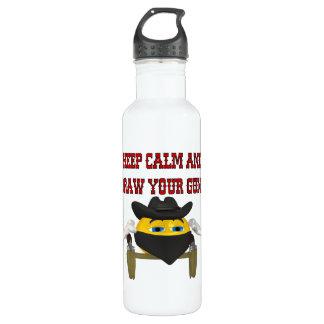 Guarde la calma y dibuje sus armas botella de agua