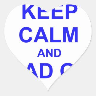 Guarde la calma y dirija hacia fuera el azul pegatina en forma de corazón