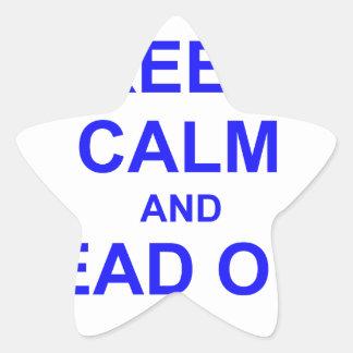 Guarde la calma y dirija hacia fuera el azul pegatina en forma de estrella