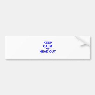 Guarde la calma y dirija hacia fuera el azul pegatina para auto