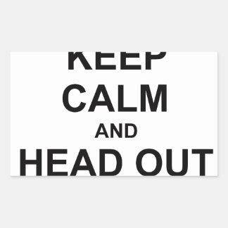 Guarde la calma y dirija hacia fuera pegatina rectangular