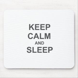 Guarde la calma y duerma azul gris negro tapete de ratón