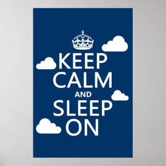 Guarde la calma y duerma en (el color del personal posters