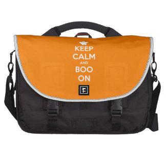 Guarde la calma y el abucheo encendido bolsas para portatil