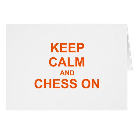 Guarde la calma y el ajedrez en el naranja rosado  tarjeta de felicitación