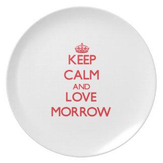 Guarde la calma y el amor Morrow Plato De Comida