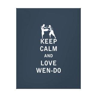 Guarde la calma y el amor Wen-Hace Lienzo Envuelto Para Galerías