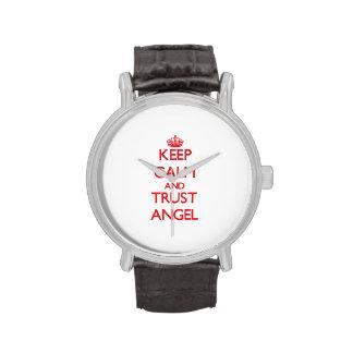 Guarde la calma y el ángel de la CONFIANZA Relojes De Pulsera