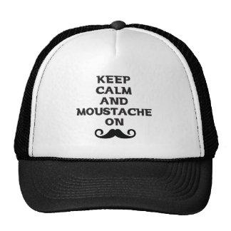 Guarde la calma y el bigote encendido gorras