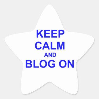 Guarde la calma y el blog en azul gris negro calcomanias forma de estrella