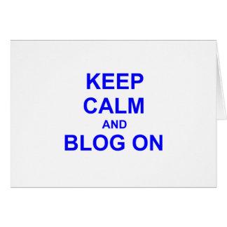 Guarde la calma y el blog en azul gris negro tarjeta de felicitación