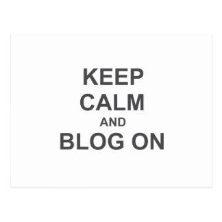 Guarde la calma y el blog en azul gris negro postales