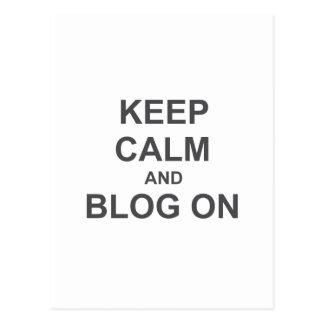 Guarde la calma y el blog en azul gris negro postal