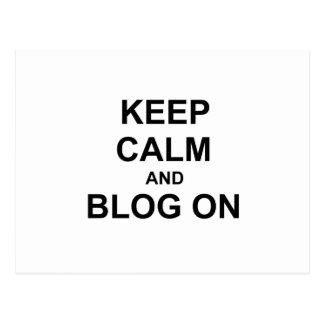 Guarde la calma y el blog en azul gris negro tarjetas postales