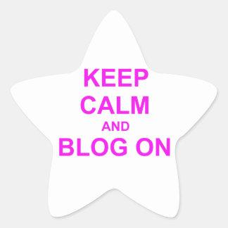 Guarde la calma y el blog en rosado anaranjado calcomanías forma de estrellas personalizadas