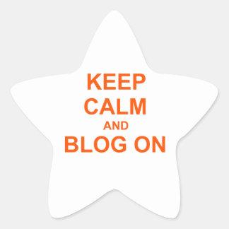 Guarde la calma y el blog en rosado anaranjado calcomanía cuadrada