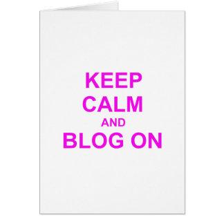 Guarde la calma y el blog en rosado anaranjado tarjeta de felicitación