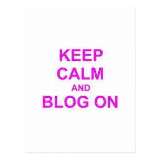 Guarde la calma y el blog en rosado anaranjado tarjetas postales