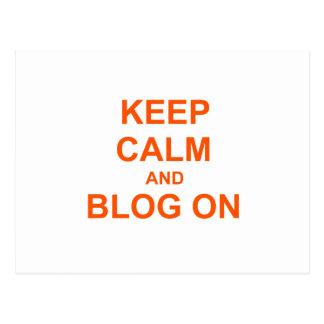 Guarde la calma y el blog en rosado anaranjado postal