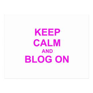 Guarde la calma y el blog en rosado anaranjado tarjeta postal