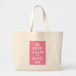 Guarde la calma y el blog encendido bolsa tela grande