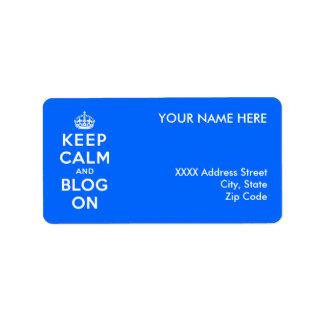 Guarde la calma y el blog encendido etiquetas de dirección