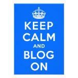 Guarde la calma y el blog encendido invitaciones personalizada