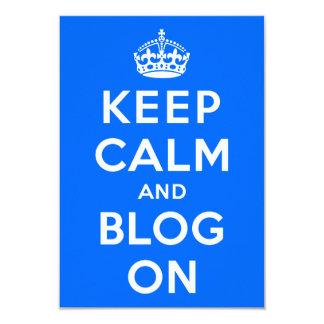 """Guarde la calma y el blog encendido invitación 3.5"""" x 5"""""""