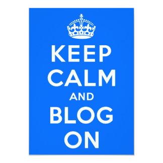 """Guarde la calma y el blog encendido invitación 5"""" x 7"""""""