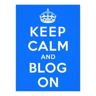 """Guarde la calma y el blog encendido invitación 6.5"""" x 8.75"""""""