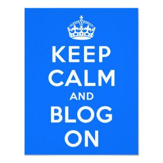 """Guarde la calma y el blog encendido invitación 4.25"""" x 5.5"""""""