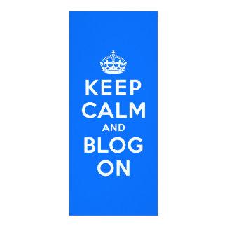 """Guarde la calma y el blog encendido invitación 4"""" x 9.25"""""""